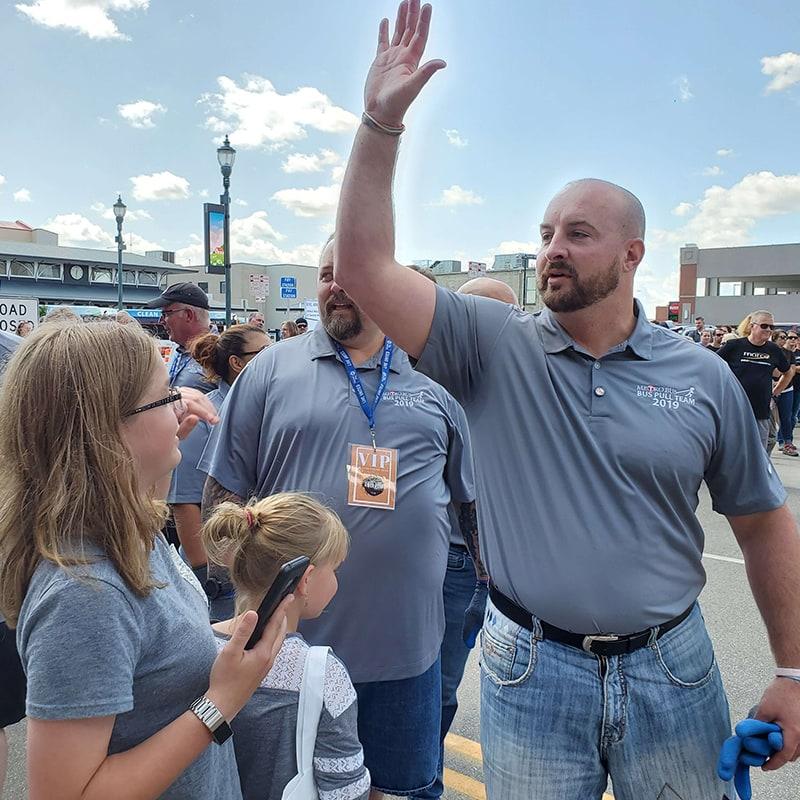 Man giving a high five